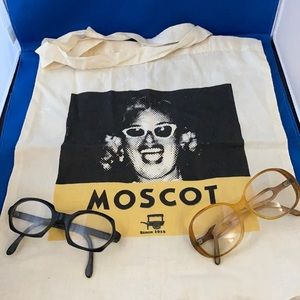 Moscot Bag And 2 Pair Vintage Glasses Frames Old!